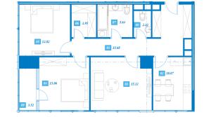 Планировка 3-комнатной квартиры в Савеловский Сити